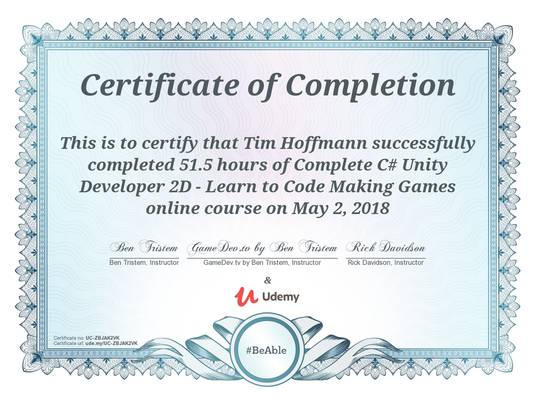 Unity C# course completed